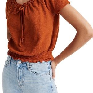 Madewell Texture and Thread rust drawstring top
